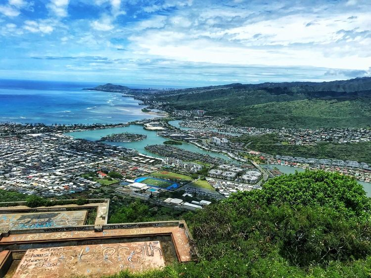 View from Koko Photography Photo Hawaii Oahu Beauty In Nature Sky Plant Cloud - Sky Water Nature Land Tranquility Growth Scenics - Nature No People Day Sea Tranquil Scene High Angle View Beach Outdoors Environment Green Color