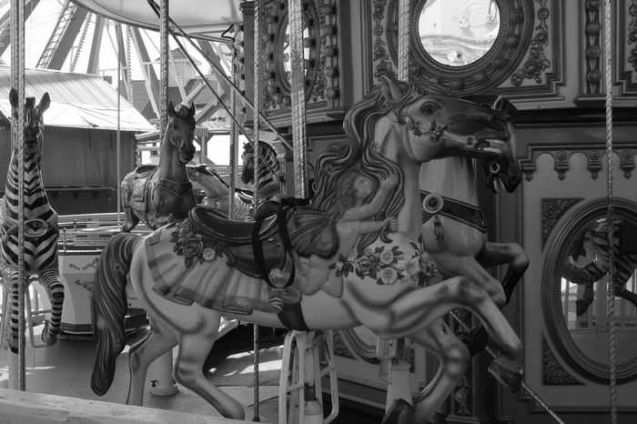 Monochrome Merry Go Round Carnival Sculpture No People Day Statue Outdoors Carni
