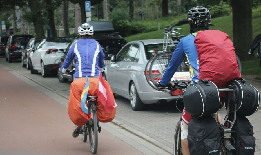 CyclingUnites Good Ride Friends Heavy Baggage Vacation Austria Sweden Cycling Helmet Dry Weather Two People Outdoors From My Point Of View Outdoors Photograpghy  Taking Photos Streetphotography