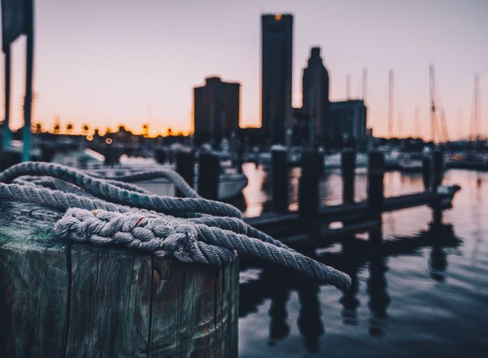 Dockside. || Rope Sunset Outdoors Harbor Wooden Post Focus On Foreground Sky Water Nautical Vessel No People Urban Skyline Beach Corpus Christi