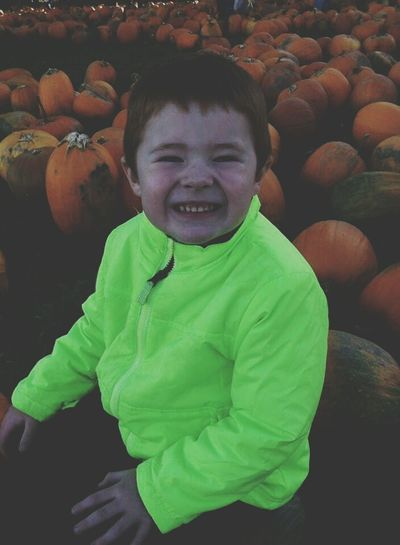 Pumpkin Patch Nephew  Being Silly ! Hyperactive Ilovemynephew Pumpkins Neon Hanging Out Family❤