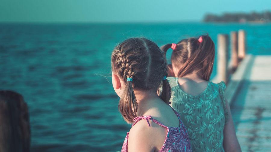 Children Pier Sisters Childhood Girls Lake Outdoors Sea Summer Water