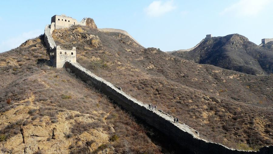 Great wall of mountain against sky