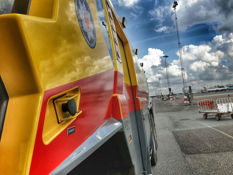 Reflection Design Surface Airport Firetruck Sky And Clouds Photography Samsungphotography Taking Photos Check This Out Lines Curves Clouds Colors Showcase June Airport Photography Outside Photography Awesome