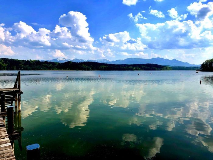 'S is wieder Sommer! 😎 Reflection Simssee Bavarian Alps Bavaria Bayern Water Cloud - Sky Sky Reflection Nature Beauty In Nature Day Lake Scenics - Nature Tranquil Scene Tranquility Outdoors Mountain Waterfront Blue No People