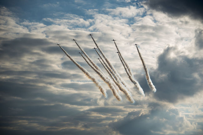 Red Arrows flying high with vapour trails Cloudy Formation Lonely Air Vehicle Airplane Airshow Bestoftheday Coming Contrast Cooperation Formation Flying High Angle View Long Trail Mid-air Military Airplane Motion Outdoors Passing Red Arrows Sky Teamwork Towards Wide Wide Angle Wide Shot
