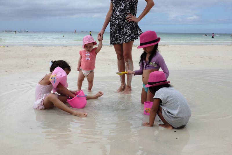FilipinoStreetPhotographers Boracay Island, Philippines Beach Water Land Women Sea Child Summer Exploratorium Group Of People Females Childhood Nature Sand Togetherness Girls
