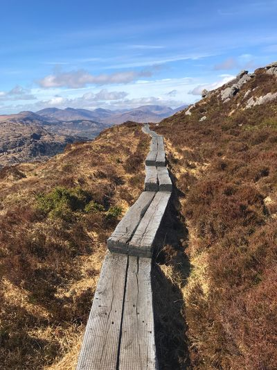 Boardwalk Torc Mountain County Kerry Ireland Ireland Kerry Ireland Kerry Sky Nature Cloud - Sky Day Road Sunlight Sign Tranquil Scene No People Scenics - Nature Tranquility Beauty In Nature The Way Forward Direction