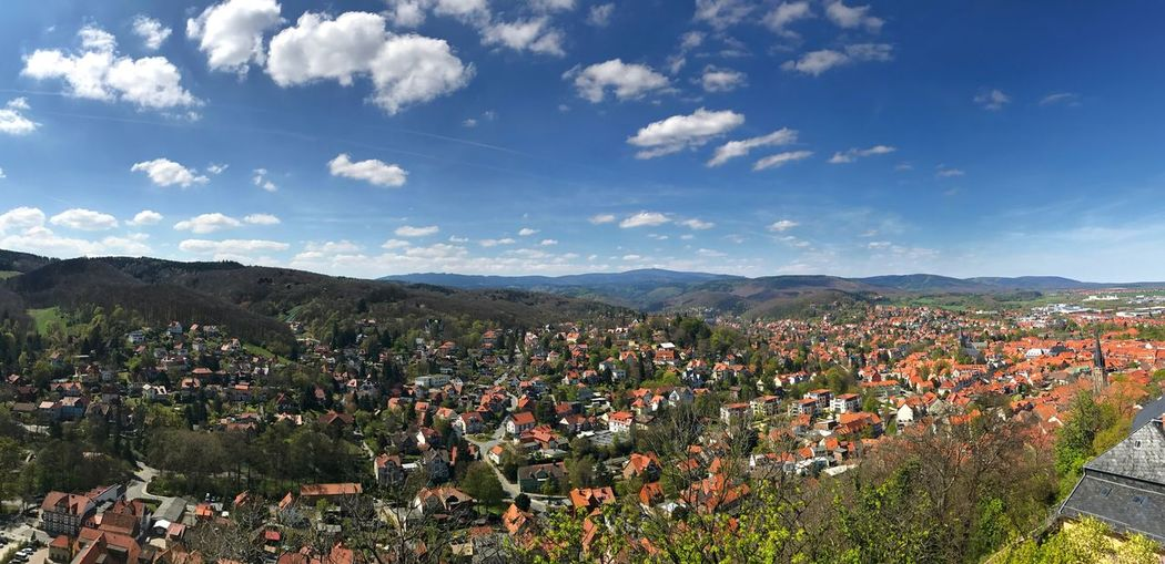 Wernigerode town against blue sky