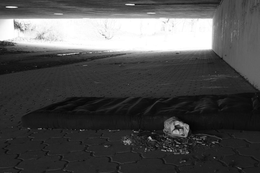 No light at the end of the tunnel Abandoned Absence Black And White Bum Life Cigarette Butts Dirty Homeless Light At The End Of The Tunnel Mattress Natural Pattern Subway Tunnel View Under The Bridge Underbridge