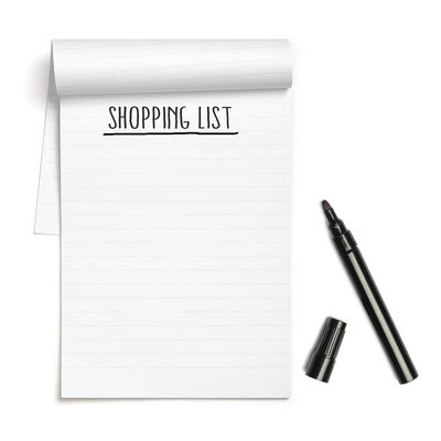 Communication Text Word Header Headline Title Copy Shopping List White Background Note Pad Paper Pen Page Writing Instrument Copy Space White Color Cut Out Still Life Directly Above Fountain Pen