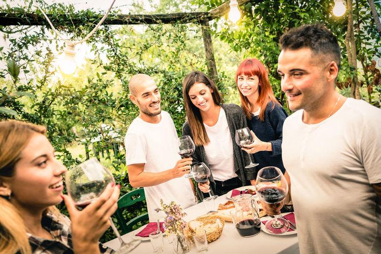 Friends Having Wine