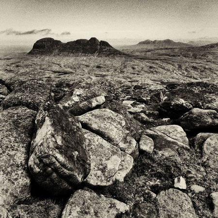 Black And White Blackandwhite Landscape Mountain Nature Remote Scotland Scottish Highlands Sepia Square Suilven