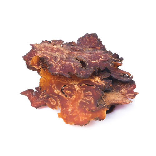 High angle view of meat on white background