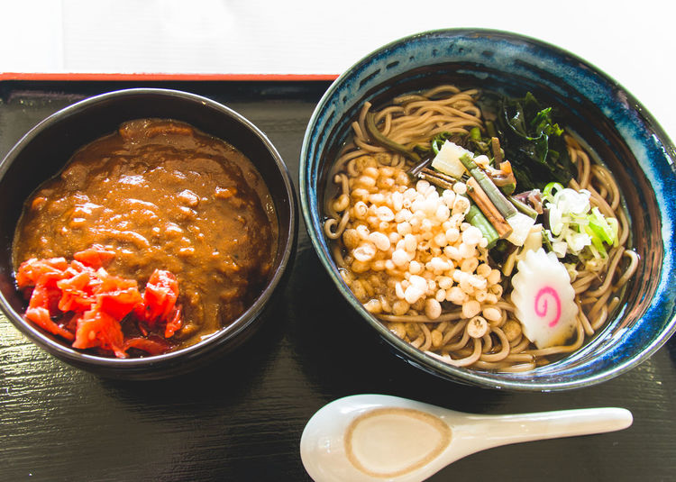 set meal:soba-noodle and curry. Food Food Porn Awards Japan Japanese Food Lunch My World Of Food Soba Table Snapshots Of Life Curry