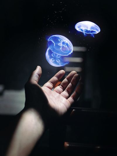 Midsection of person holding illuminated light painting
