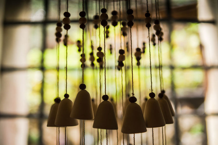 Green Old-fashioned San Fruttuoso Di Camogli Bells Ceramics Close-up Day Decorations Focus On Foreground Hanging Indoors  Large Group Of Objects No People Old Building  Wind Chime Window