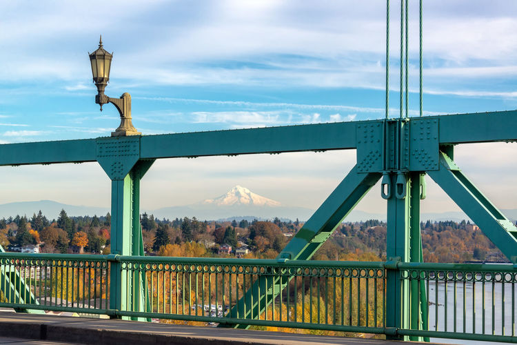 View of a portion of St. Johns Bridge in Portland, Oregon Mt. Hood in the background Portland Oregon Pacific Northwest  Travel Travel Destinations Tourism Architecture Built Structure Sky City Outdoors St Johns Bridge St. John's Bridge Bridge Bridge - Man Made Structure Connection Cloud - Sky Transportation Day Green Color St Johns Mount Hood Mt Hood Fall Fall Colors Autumn Autumn colors Nature Building Exterior No People Building Metal