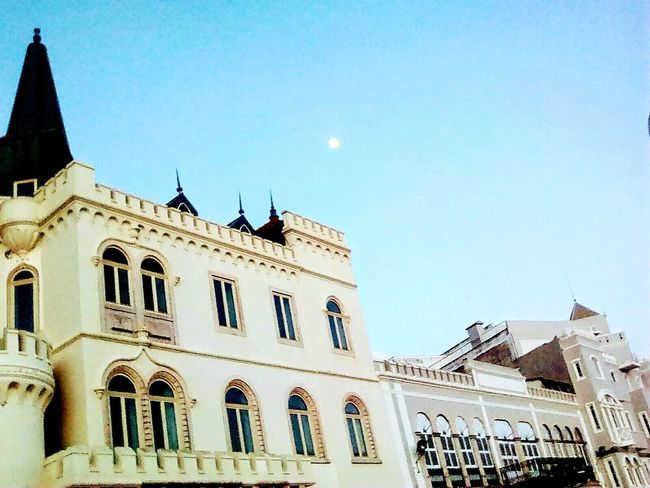 Architecture Building Exterior Low Angle View Travel Destinations Built Structure Window Day Outdoors No People Sky Politics And Government Clear Sky The Great Outdoors - 2017 EyeEm Awards Figueira Da Foz, Portugal Moon Moonlight Castle In The Sky EyeEmNewHere Tranquility The Architect - 2017 EyeEm Awards The Street Photographer - 2017 EyeEm Awards