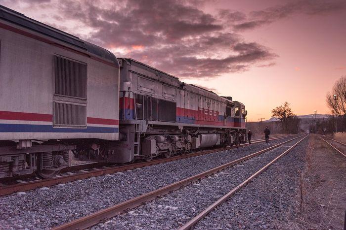 Railway Doğu Ekspresi Transportation Railroad Track Rail Transportation Mode Of Transport Train - Vehicle Sky Sunset No People Locomotive