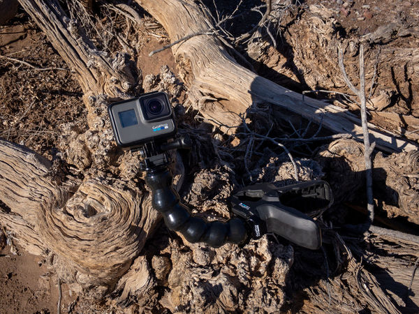 GoPro Hero6 action camera on a log in a dry wash Gopro GoPro Hero6 Day No People Technology Sunlight Nature Land Solid High Angle View Outdoors Dry Close-up Environment Photography Themes Sunny Action Camera Driftwood California Desert Hiking Dry Wash Desert Wash