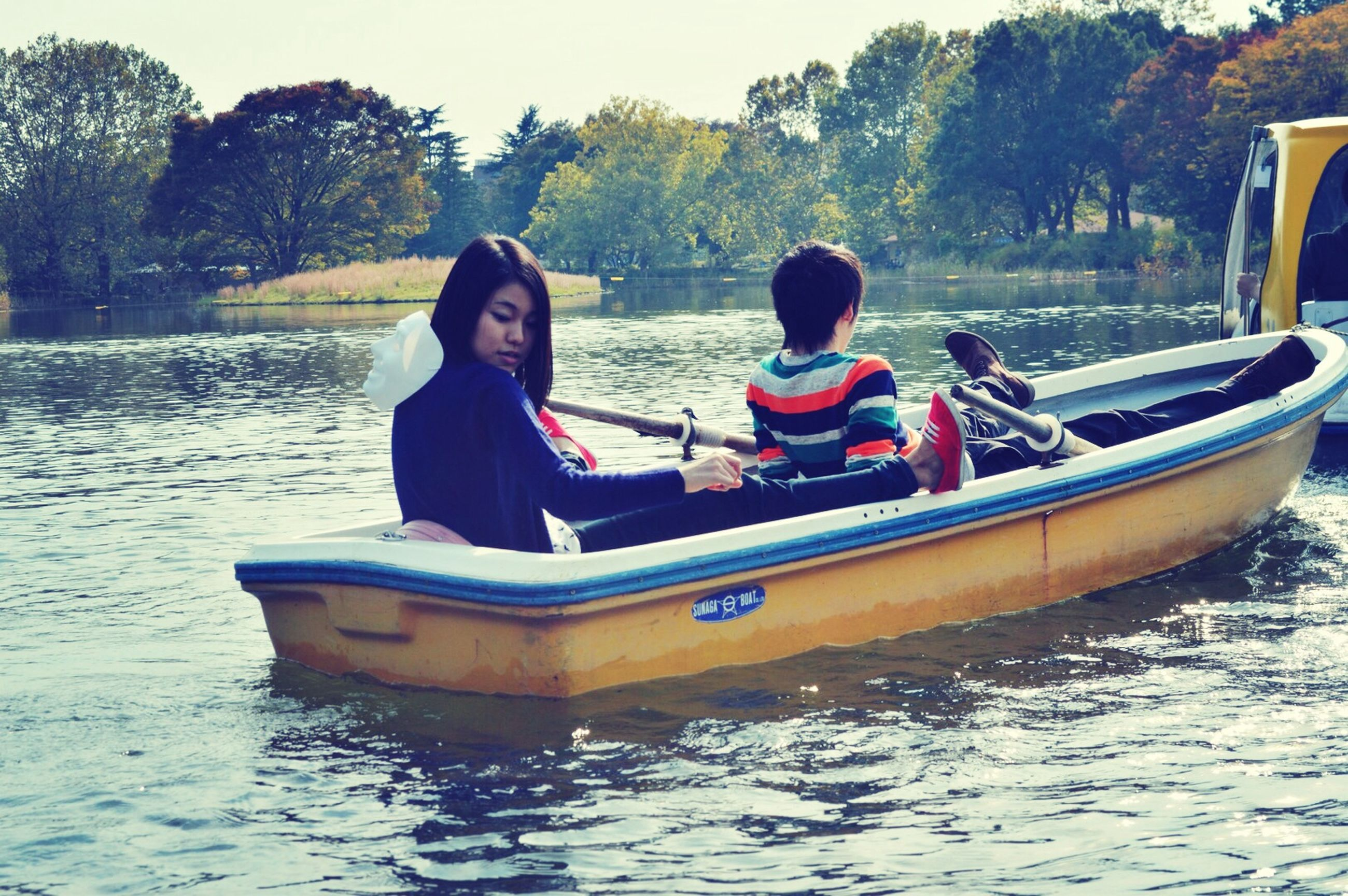 water, transportation, nautical vessel, mode of transport, lifestyles, leisure activity, tree, boat, person, waterfront, vacations, sitting, travel, lake, togetherness, river, young adult