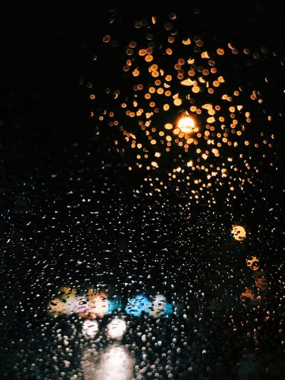 Night Water Illuminated Nature No People Lighting Equipment Wet Rain Drop Reflection Light RainDrop Motion