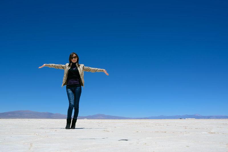 Altiplano Argentina Blue Desert Display Dry Grandes Landscape Pose Salina Salinas Saline Salt Show Sky Woman