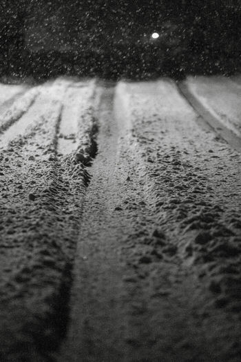 Shades Of Winter Night Lights Road Winter Black And White Blackandwhite Cold Cold Temperature Light And Shadow Nature Night No People Outdoors Season  Snow Snowing Winter