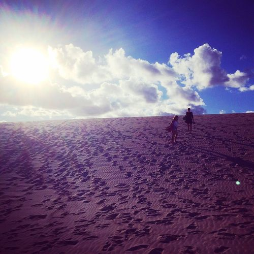Climbing up the dunas de Corralejo Fuerteventura