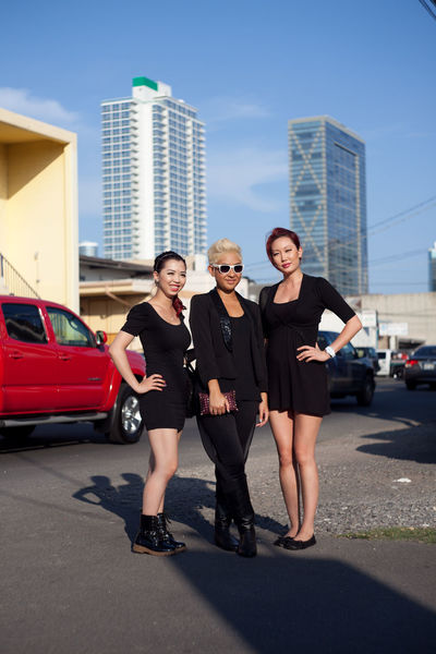 Residents of Honolulu Diverse Faces Girlgroup Mixed Group Authentic Moments Real People Authentic Moments Hapa Asian  Ponytail Doc Martens Ready To Go Out  Ready To Go Night Out Clique Posse Girl Group Girl Gang Confident Women Hello Kitty Stylish All Black Everything Confident  Fashionable Fashionable Group Group Of Girls Posse Red Hair Sexygirl Urban Urban Skyline