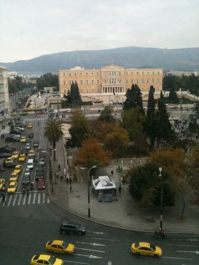 Athens City Life Cityscape Gray Sky Greece Greek Parliament Hellas Moody Sky Street Syntagma Square Traffic View From Above Athens, Greece