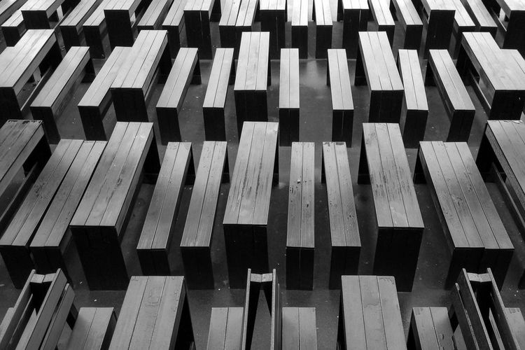 Kasematten, Duesseldorf, Germany Benches Black & White Black And White Blackandwhite Deutschland Duesseldorf Düsseldorf Geometry Germany No People NRW Pattern Pattern Pieces Tables Wood - Material Menschenleer Everything In Its Place Monochrome Photography Beautifully Organized