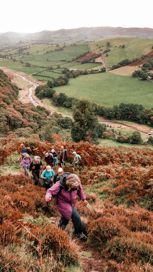 Hikers going uphill in a valley in Wales Meander Meandering Scenics Looking Down Mountains Valley Wales Hikers Group Of People Elderly Retirement Active Lifestyle  River Stream Fern Cold Temperature Warm Clothing Wales UK Trail Hiking Orange Color Brown Green Valley Women Sky Landscape Farmland Cultivated Land Agricultural Field Farm