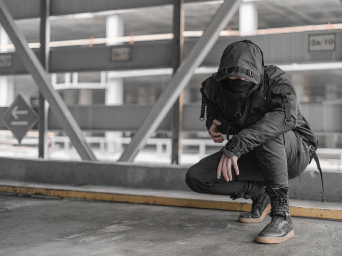 Urban Ninja, Urban, Urban Fashion, Fashion, ninja Real People Architecture Day Full Length One Person Hood Lifestyles Transportation Clothing Leisure Activity Built Structure Hooded Shirt Casual Clothing Hood - Clothing Men Railing Outdoors Motion Standing