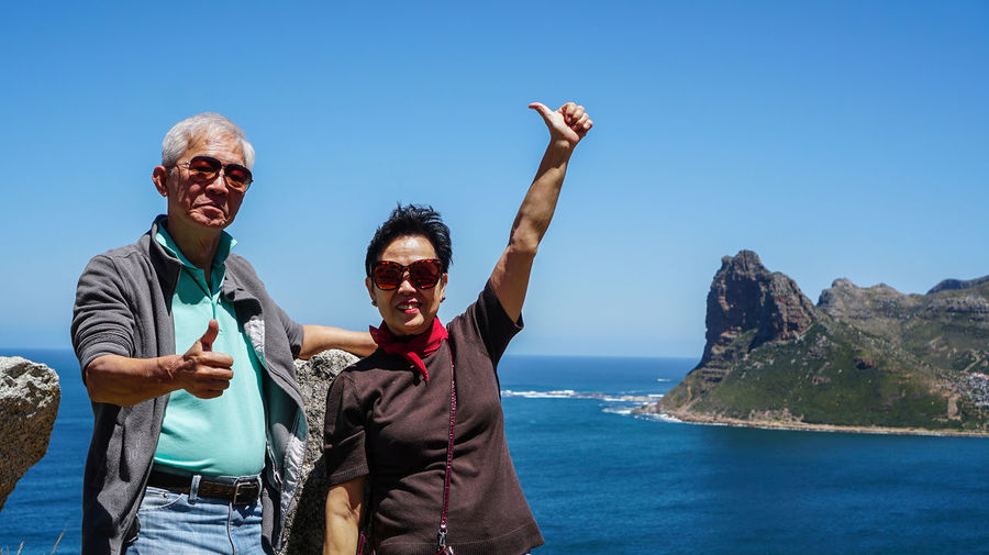 Asian senior couple exotic advanture to south africa retirement trip