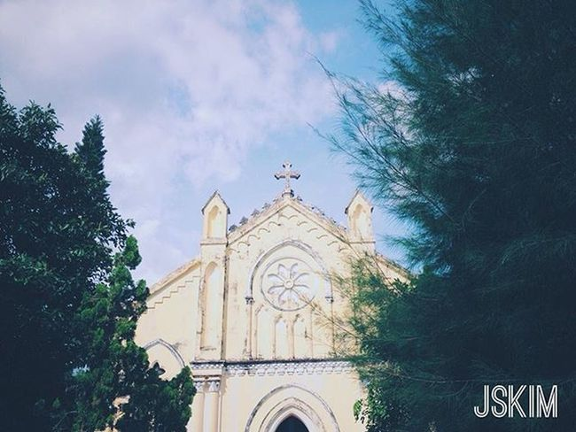 The afternoon . Afternoon Photooftheday Like Love Instagood Followme Sky Blue Trees Garden Pine Monastery Church Vietnam Travel Traveling VSCO Vscocam Piclab