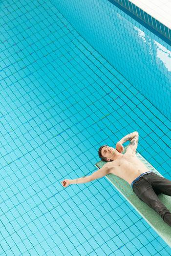Boy Diving Diving Board Pool