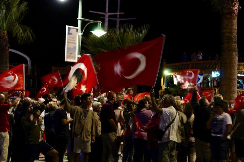 30.08.2017 Flag Celebration Night Red Turkey Turkish Flag Men Large Group Of People Unity Crowd People The Week On EyeEm