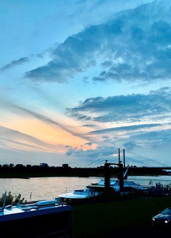 Abendstimmung Abendlicht Düsseldorf Sky Transportation Cloud - Sky Nautical Vessel Water Mode Of Transport Built Structure
