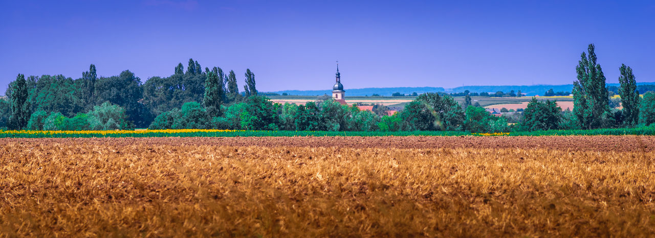 Homeland Bavaria Nature Panorama Agriculture Architecture Beauty In Nature Cereal Plant Crop  Environment Farm Field Franconia Germany Growth Homeland Land Landscape Nature No People Outdoors Panoramic Plant Rural Scene Scenics - Nature Sky Tranquil Scene Tree