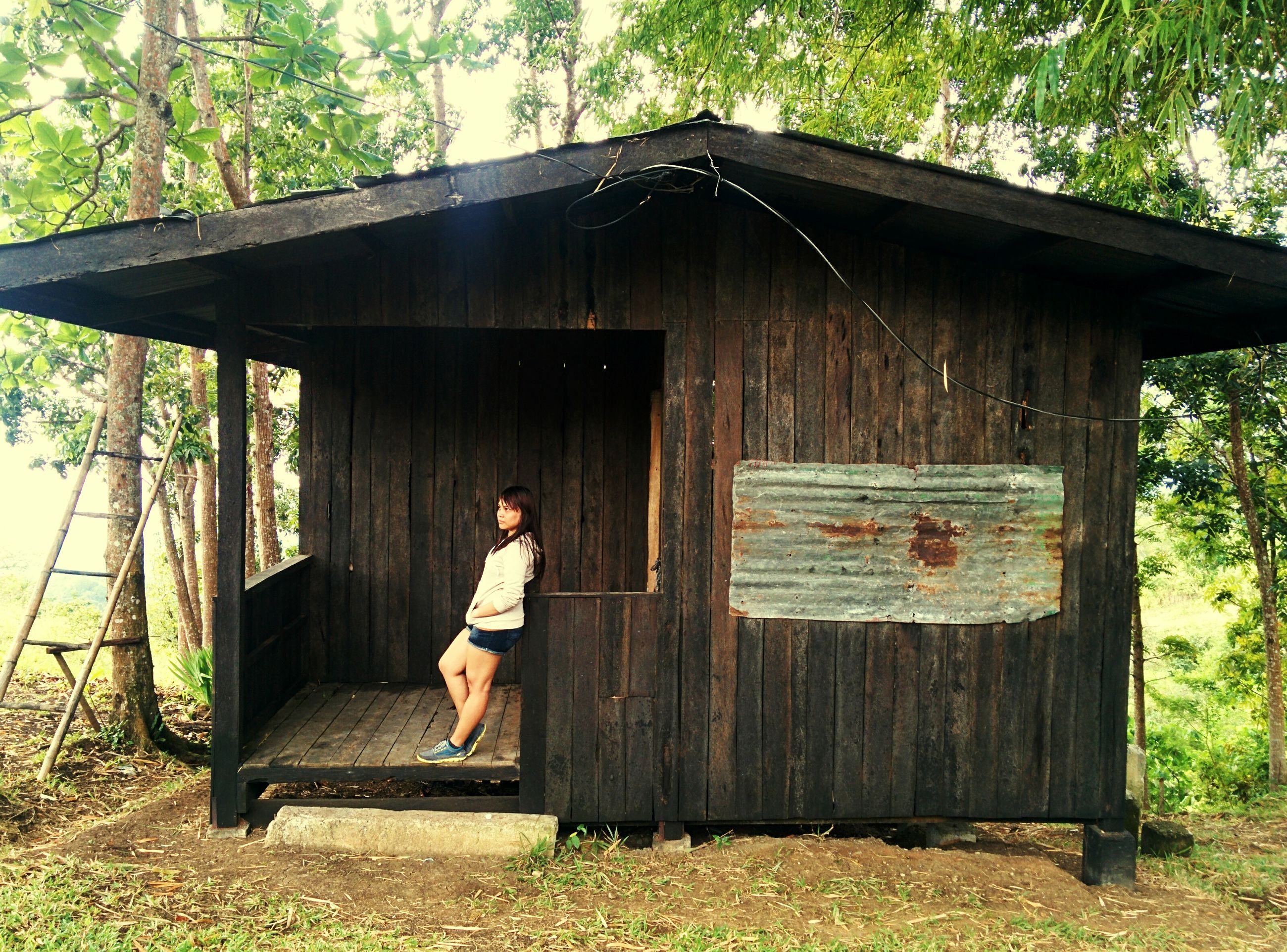 young adult, lifestyles, leisure activity, full length, tree, wood - material, casual clothing, relaxation, sitting, person, house, grass, built structure, young women, standing, architecture, day, side view