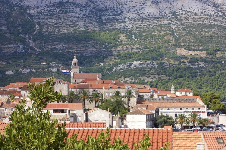 Town of Korcula on summer day Architecture Building Building Exterior Built Structure City Cityscape Day High Angle View House Mountain Nature No People Outdoors Place Of Worship Plant Religion Residential District Roof Town TOWNSCAPE Tree The Architect - 2018 EyeEm Awards
