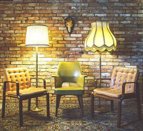 Lamp post in dark room