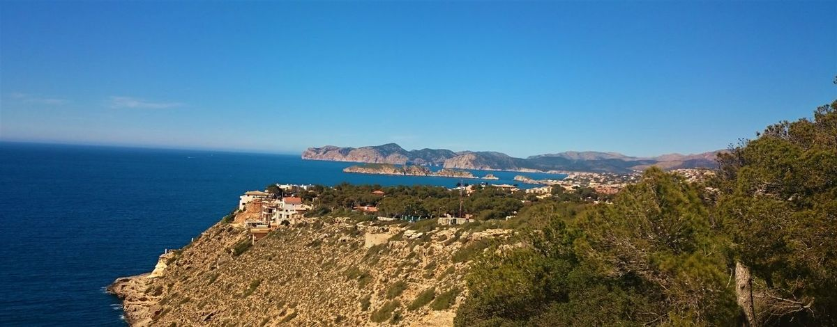 Beauty In Nature Blue Coastline Day High Angle View Horizon Over Water Landscape Mountain Nature No People Outdoors Panoramic Pinaceae Pine Tree Scenics Sea Sky Tourism Tree Fresh On Eyeem  Mallorca Andratx