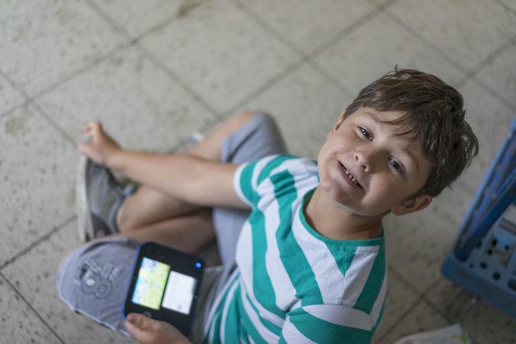 Boy Child Childhood Gameboy Playing
