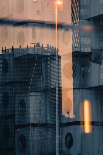 Multiple exposure of building and glass window