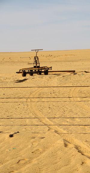 Tire tracks on desert