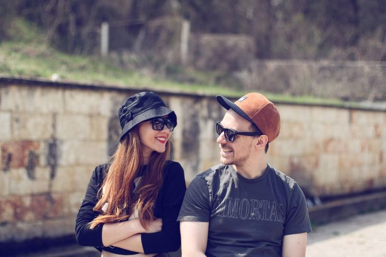 brother and sister Sister Brother Friendship Bonding Togetherness Smiling Happiness Women Men Love Cap