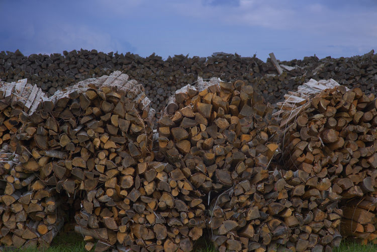 A large amount of collected firewood for the winter Business Finance And Industry Day Large Group Of Objects Lumber Lumber Industry No People Outdoors Packed Up Preparation  Round Stack Stock Timber Woodpile